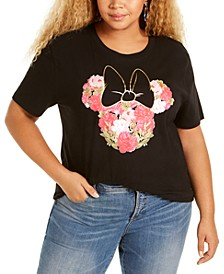 Trendy Plus Size Cotton Floral Minnie Graphic T-Shirt