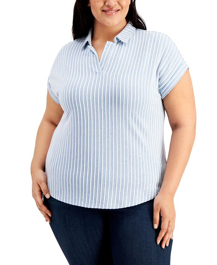 Belldini - Plus Size Textured Stripe Polo