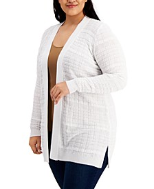 Plus Size Stitched Open-Front Cardigan Sweater