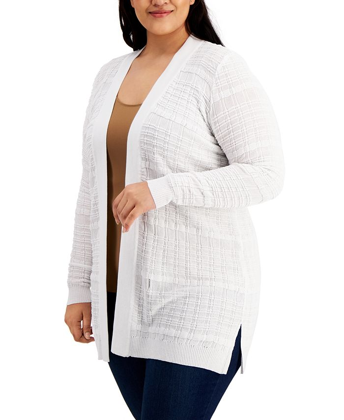 Belldini - Plus Size Stitched Open-Front Cardigan Sweater