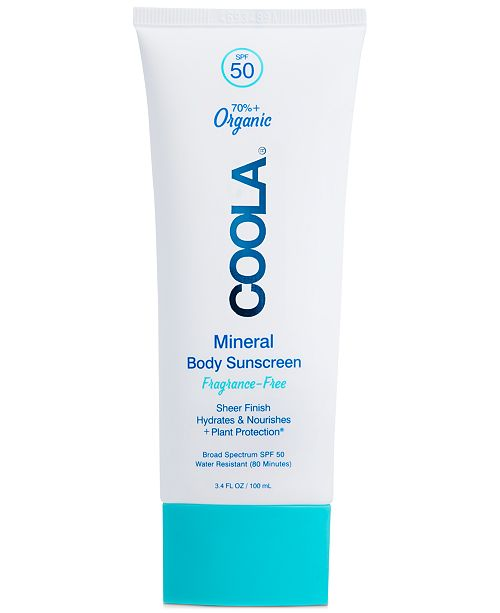 COOLA Mineral Body Organic Sunscreen Lotion SPF 50 - Fragrance Free, 3.4-oz.