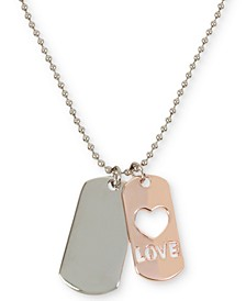 "Two-Tone Love Dog Tag Pendant Necklace, 29"" + 3"" extender"