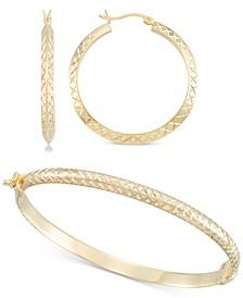 2-Pc. Set Medium Textured Hoop Earrings & Matching Bangle Bracelet in 14k Gold over Sterling Silver