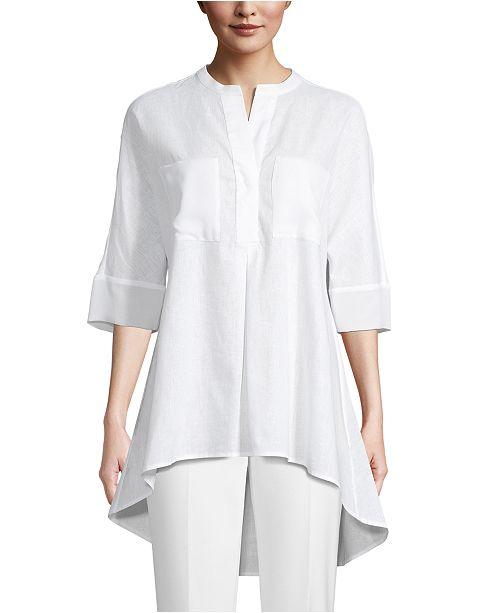 Anne Klein Linen Front-Pocket Tunic