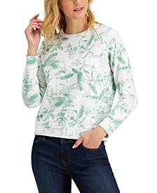 Botanical Print Pullover Sweatshirt
