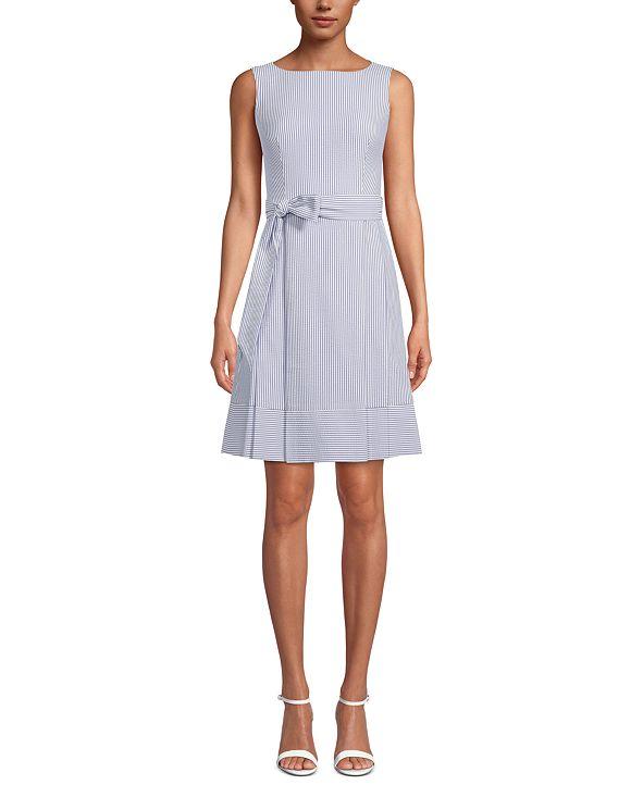 Anne Klein Striped Seersucker Dress