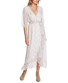 Woodland Floral-Print Wrap Maxi Dress