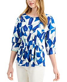 Petite Printed Cinched Dolman-Sleeve Top, Created for Macy's