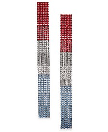 Silver-Tone Red, White & Blue Crystal Strip Linear Drop Earrings, Created for Macy's