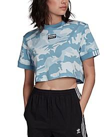 adidas Women's Camo Print Cropped Tee