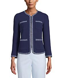 Zippered Woven-Trim Blazer