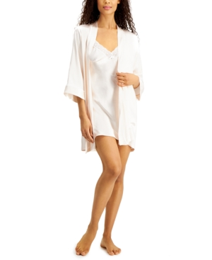 'Mom' Lace Trim Chemise Nightgown and Embroidered Wrap Robe Set