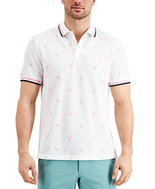 Men's Stretch Flamingo Pattern Polo Shirt, Created for Macy's