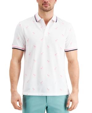 Men's Stretch Flamingo Pattern Polo Shirt