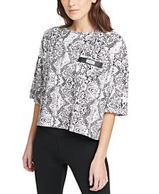 Sport Snake-Print Cropped T-Shirt