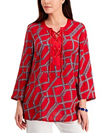 Petite Cotton Printed Tasseled Tunic, Created for Macy's