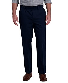 Men's Premium Classic-Fit Wrinkle-Free Stretch Elastic Waistband Dress Pants