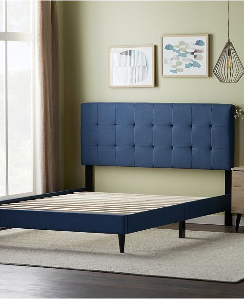 Dream Collection Upholstered Platform Bed Frame With Square Tufted Headboard Queen Reviews Furniture Macy S