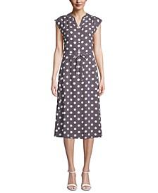 Polka-Dot Cap-Sleeve Dress
