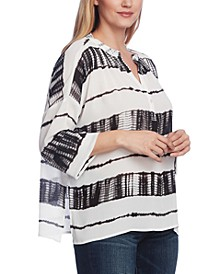Split Neck Shibori Stripe Dolman Sleeve Blouse
