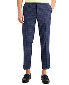 Men's Slim-Fit Stretch Plaid Cropped Dress Pants, Created for Macy's
