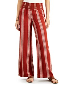 Juniors' Stripe Smocked Wide-Leg Pants