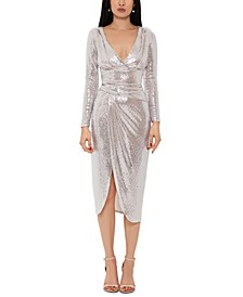 Metallic Faux-Wrap Midi Dress