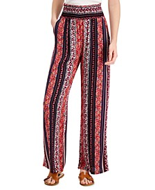 Juniors' Printed Smocked Wide-Leg Pants