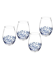 Blue Italian Stemless Wine Glasses