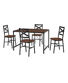5-Piece Angle Iron Dining Set with X Back Chairs