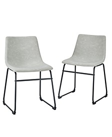 "18"" Faux Leather Dining Chair, Set of 2"