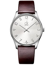 Calvin Klein Watch, Men's Swiss Classic Brown Leather Strap 38mm K4D211G6