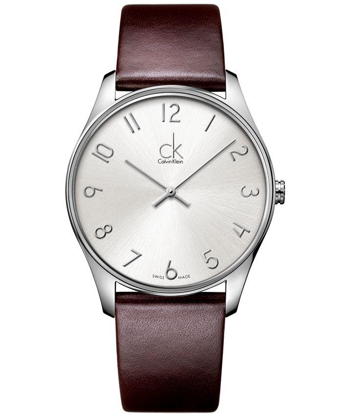 Calvin Klein - Watch, Men's Swiss Classic Brown Leather Strap 38mm K4D211G6