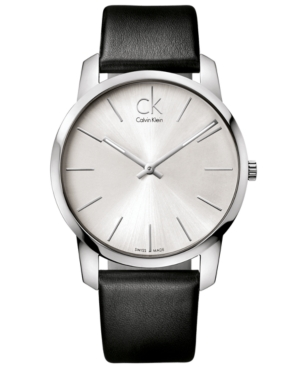 Calvin Klein Watch, Men's Swiss City Black Leather Strap 43mm K2G211C6