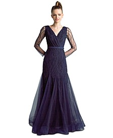 Embellished Godet-Hem Gown