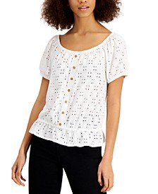 Juniors' Eyelet Peplum Top
