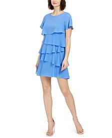 Petite Tiered-Chiffon Dress