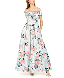 Off-The-Shoulder Floral Gown