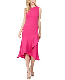 Flounce Midi Sheath Dress