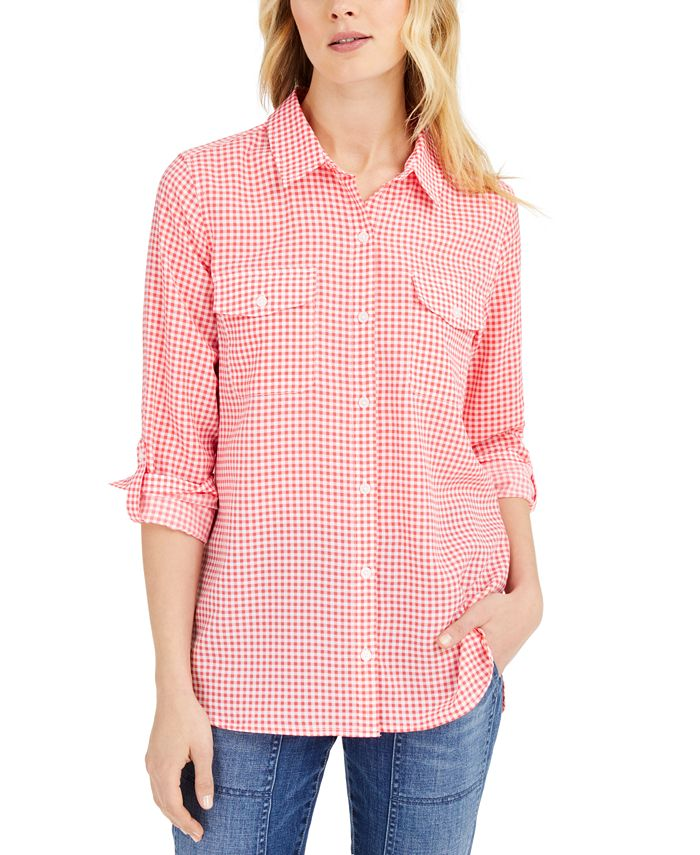Tommy Hilfiger - Roll-Tab-Sleeve Cotton Top