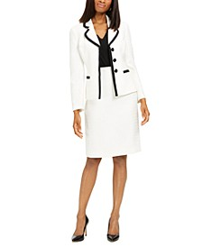 Contrast-Trim Skirt Suit
