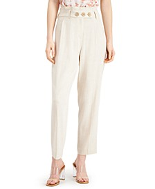 High-Waisted Button-Front Linen Pants, Created for Macy's