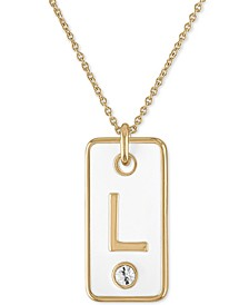 """Gold-Tone Initial White Tag Pendant Necklace, 24"""" + 2"""" extender"""