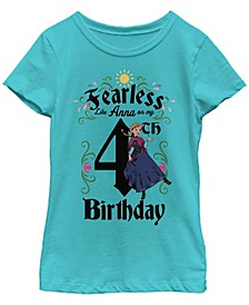 Big Girls Frozen Anna Birthday 4 Short Sleeve T-shirt