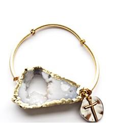Druzy Barre Cross Bracelet