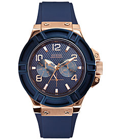 GUESS Men's Blue Silicone Strap Watch 46mm U0247G3