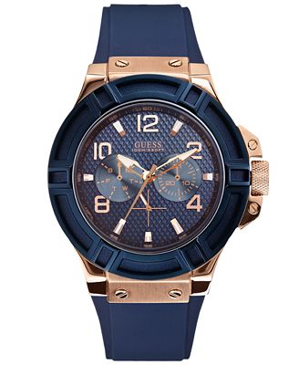 guess s blue silicone 46mm u0247g3