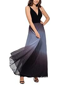 Pleated Glitter-Skirt Gown