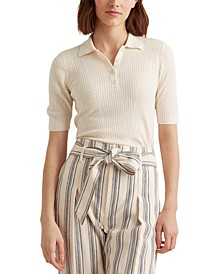 Rib-Knit Collared Shirt