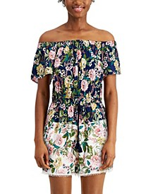 Juniors' Floral-Print Off-The-Shoulder Romper